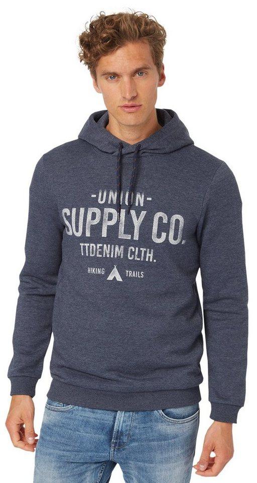 TOM TAILOR DENIM Sweatshirt »Kapuzenpullover mit Print« in night sky blue