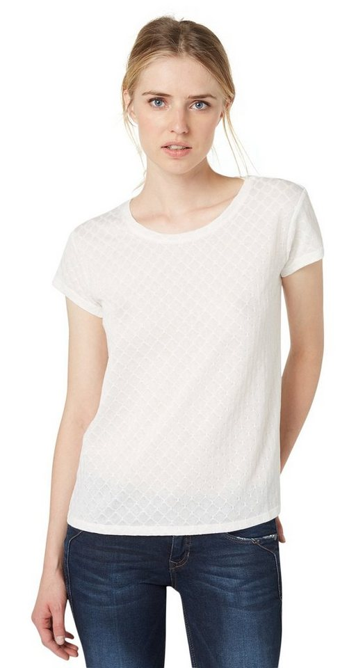 TOM TAILOR DENIM T-Shirt »structured shirt« in off white