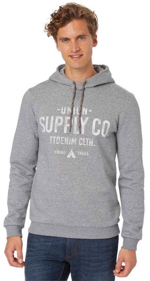 TOM TAILOR DENIM Sweatshirt »Kapuzenpullover mit Print« in heather grey melange