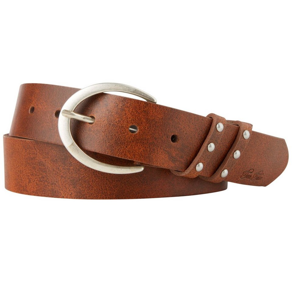 TOM TAILOR Gürtel »leather belt with double loop and rivets« in cognac