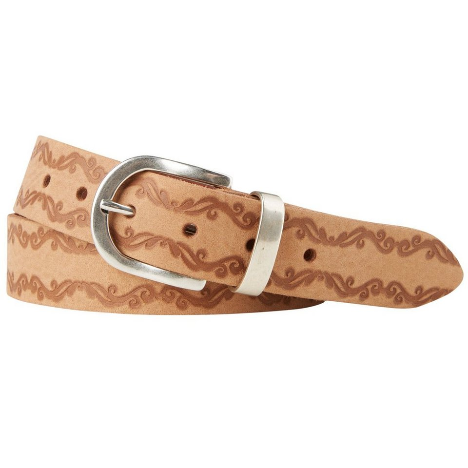 TOM TAILOR Gürtel »leather belt with floral embossing« in cognac