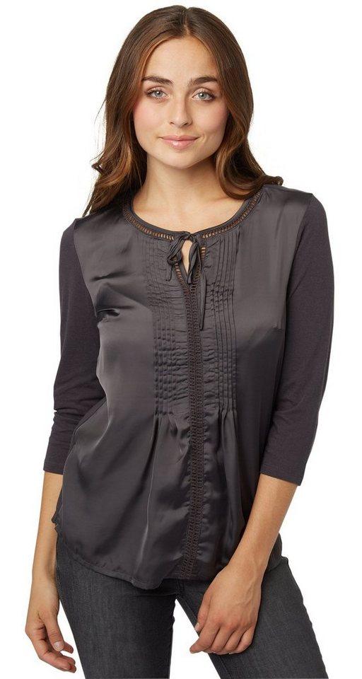 TOM TAILOR T-Shirt »lovely sateen mix shirt« in Coal Grey