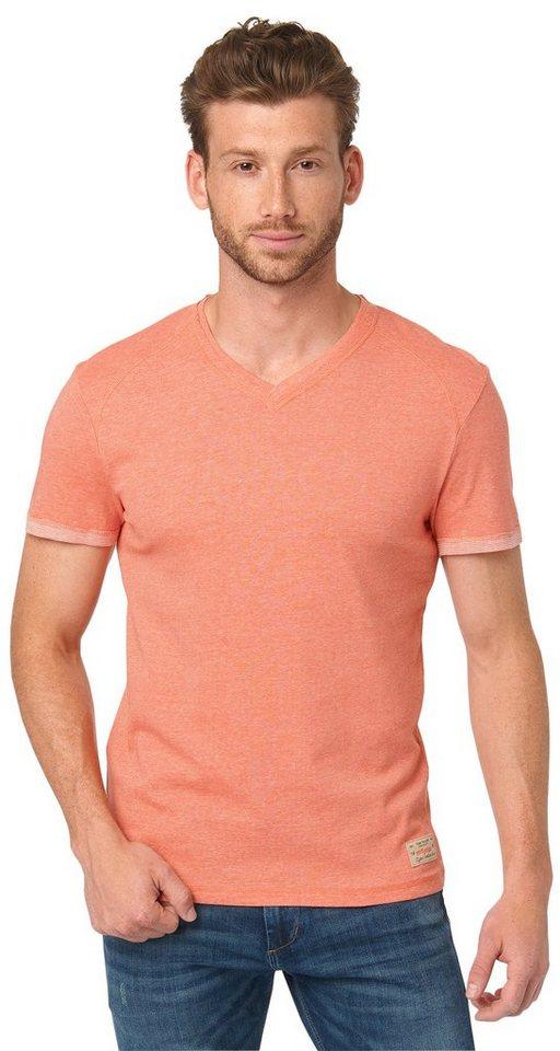 TOM TAILOR T-Shirt »V-Ausschnitt T-Shirt mit Details« in lux coral red