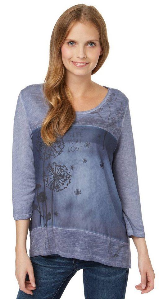 TOM TAILOR T-Shirt »T-Shirt mit Satin-Einsatz« in steal blue