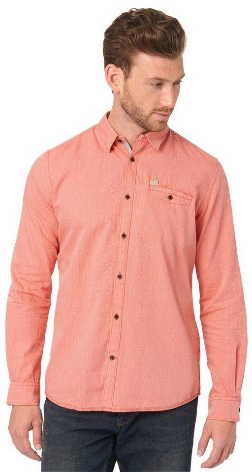 TOM TAILOR Hemd »gemustertes Hemd mit Brusttasche« in lux coral red
