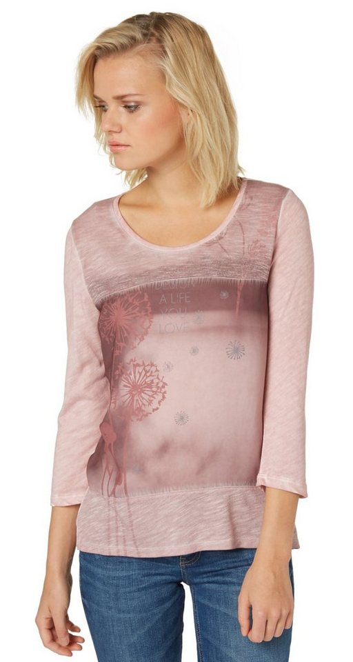 TOM TAILOR T-Shirt »T-Shirt mit Satin-Einsatz« in Taste of berry
