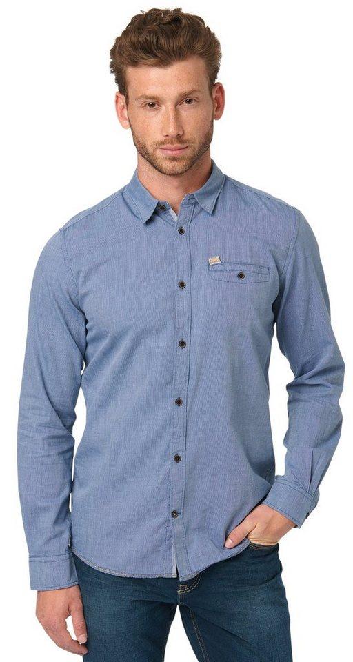 TOM TAILOR Hemd »floyd dobby pattern mix shirt« in regular blue
