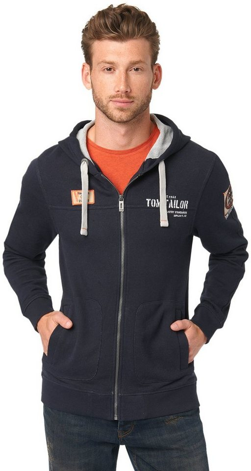TOM TAILOR Sweatjacke »Sweatjacke mit Print und Badges« in knitted navy