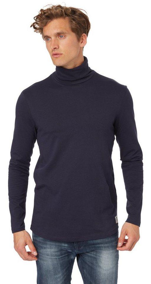 TOM TAILOR DENIM T-Shirt »roll neck tee« in night sky blue