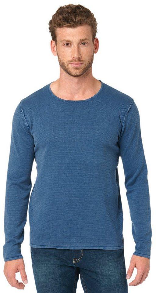 TOM TAILOR Pullover »Pullover in Used-Optik« in ensign blue