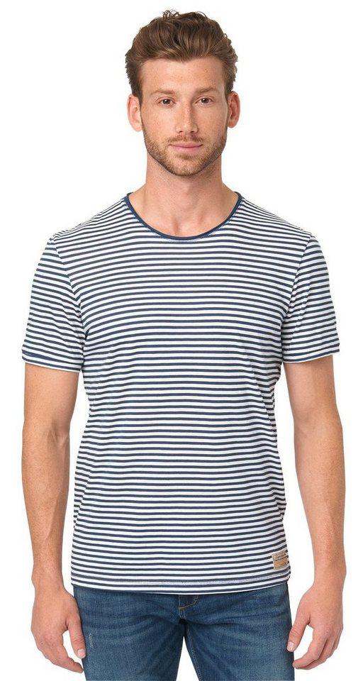TOM TAILOR T-Shirt »maritimes Streifenshirt« in dark denim blue