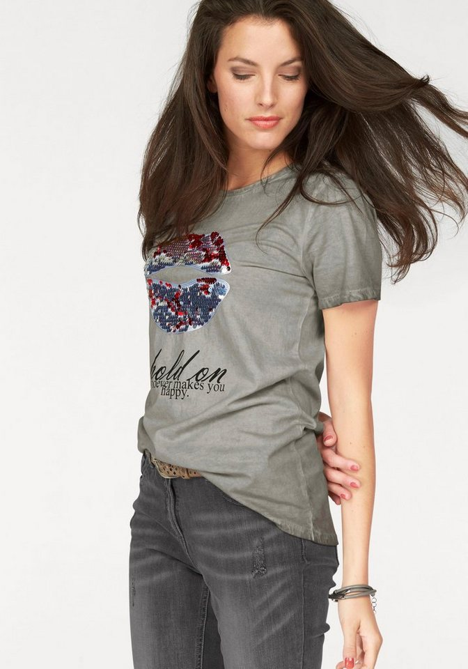 Aniston T-Shirt in Oil dyed-Waschung in grau