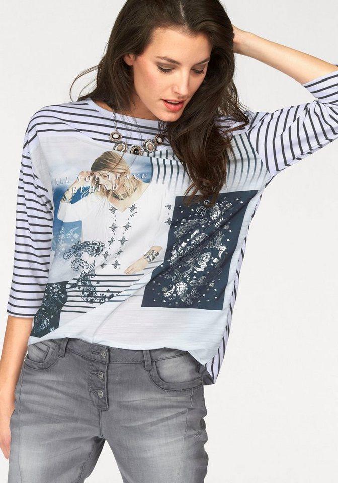 Aniston 3/4-Arm-Shirt im Vokuhila-Style in weiß-schwarz-silberfarben