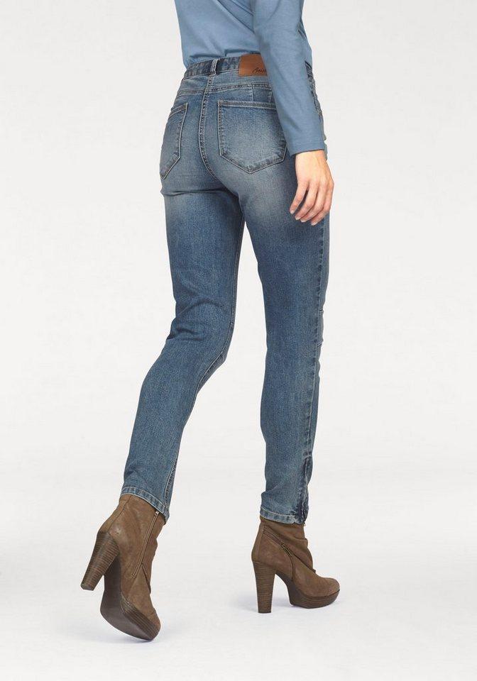 Aniston Röhrenjeans mit Reißverschluss am Beinabschluss in blue