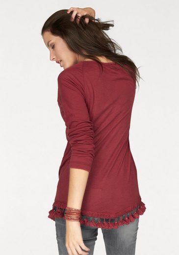 Aniston Langarmshirt, mit Quasten