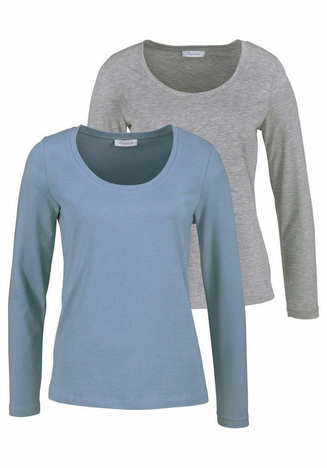 Aniston Langarmshirt mit Rundhals-Ausschnitt (Packung, 2 tlg., 2er-Pack) in grau+jeans