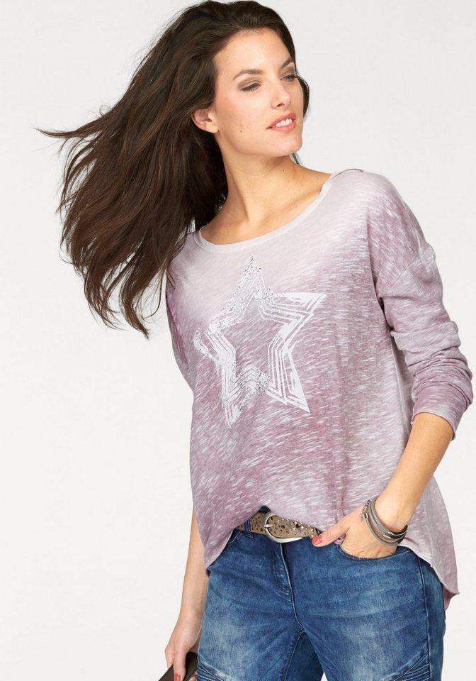 Aniston Vokuhila-Shirt mit Glitzerdruck in rosé-weiß-silberfarben