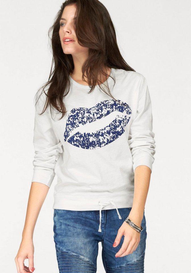 Aniston Sweatshirt mit Bindeband in wollweiß-marine