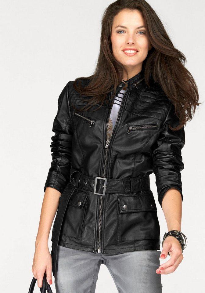 Aniston Lederjacke aus echtem Lammnappa in schwarz