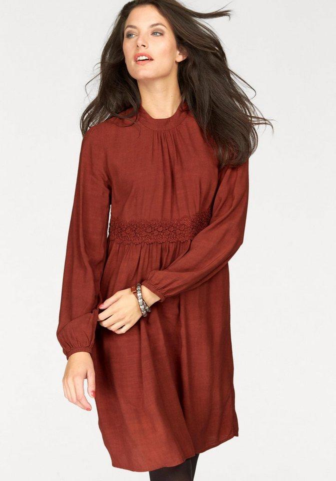 Aniston A-Linien-Kleid mit Spitzenbesatz in rostbraun