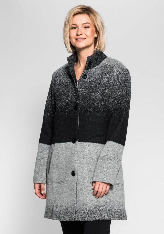 sheego Style Kurzmantel mit Farbverlauf in schwarz-grau