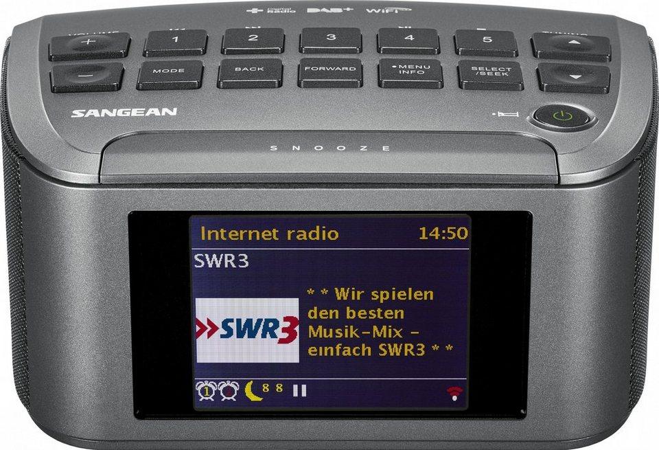 Sangean Internetradio (DAB+/UKW, Dual-Alarm, WLAN, Spotify, MP3, AUX-In) »RCR-11 WF« in Grau