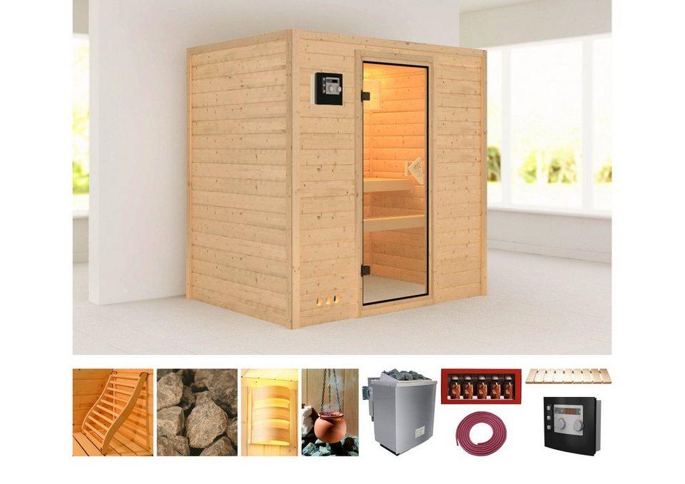 Karibu Sauna »Sonja«, 196/144/198 cm, 38 mm, 9-KW-Ofen mit ext. Steuerung in natur