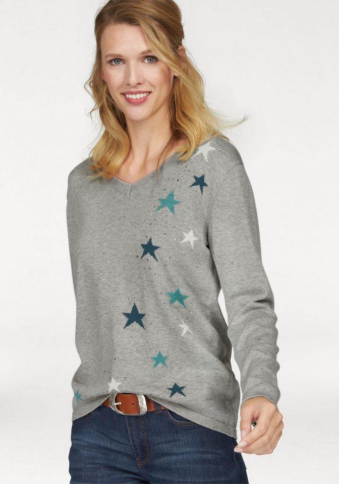 Cheer V-Ausschnitt-Pullover im Vokuhila-Style in grau-petrol-wollweiß
