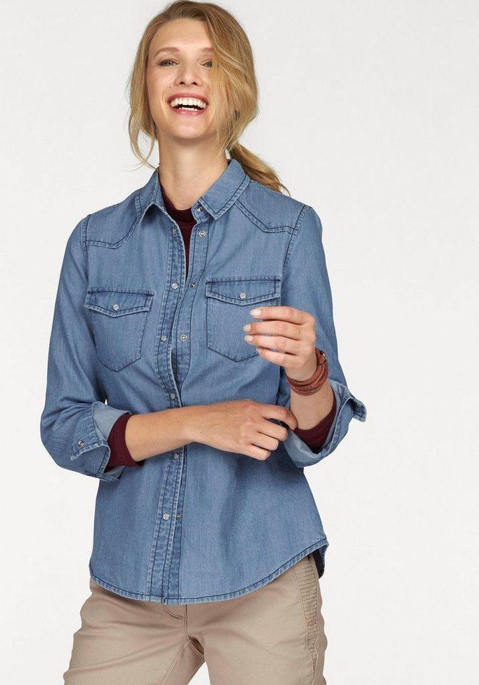 Cheer Jeansbluse in leichter Denim-Qualität in blue