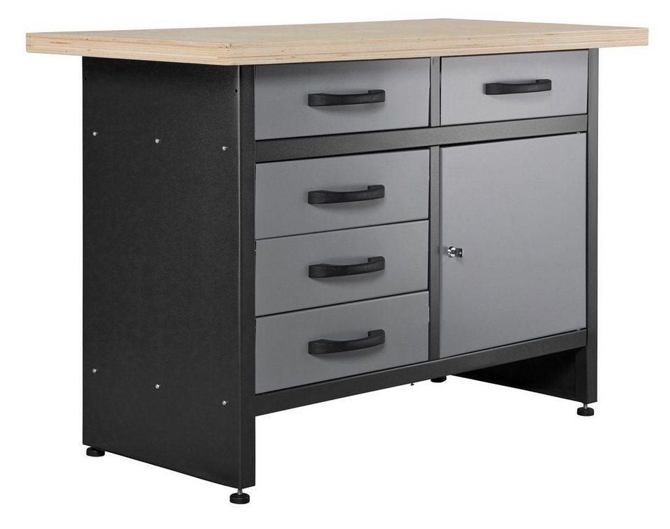 Werkbank »5 Schubladen, grau« in grau