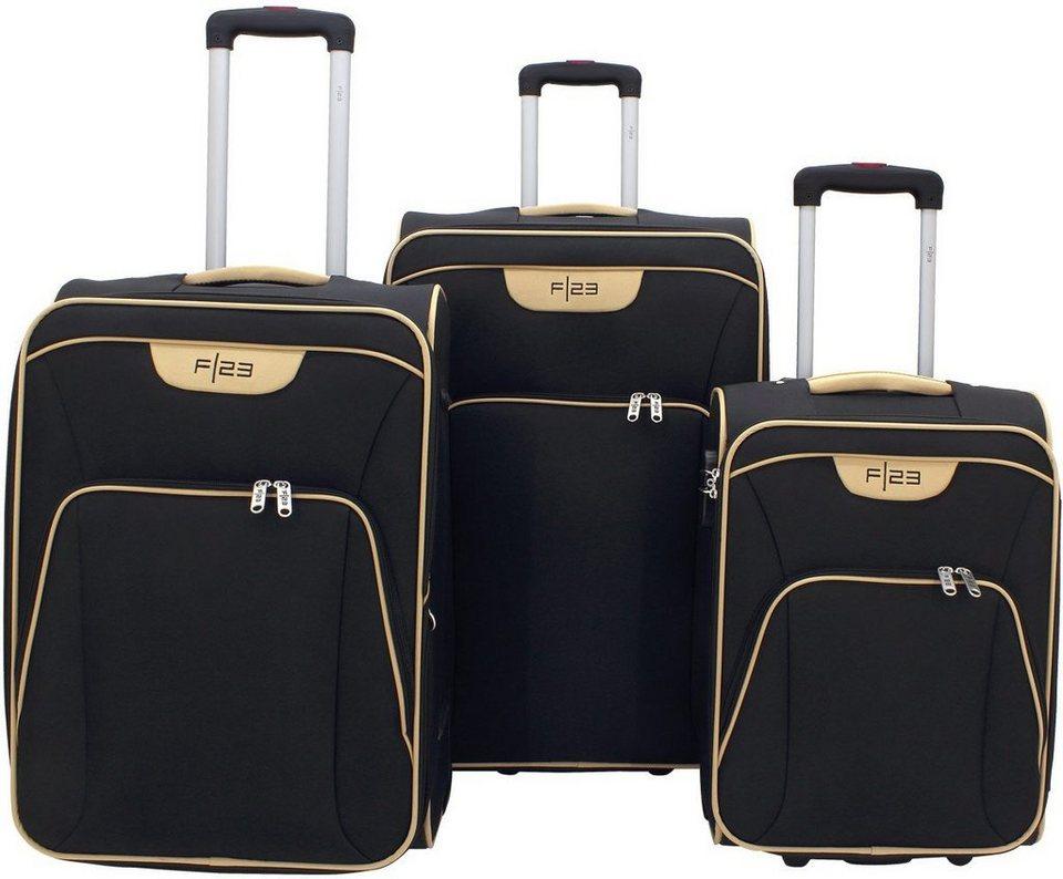 F23™, Weichgepäcktrolley Set mit 2 Rollen (3-tlg.), »Barcelona« in schwarz/beige