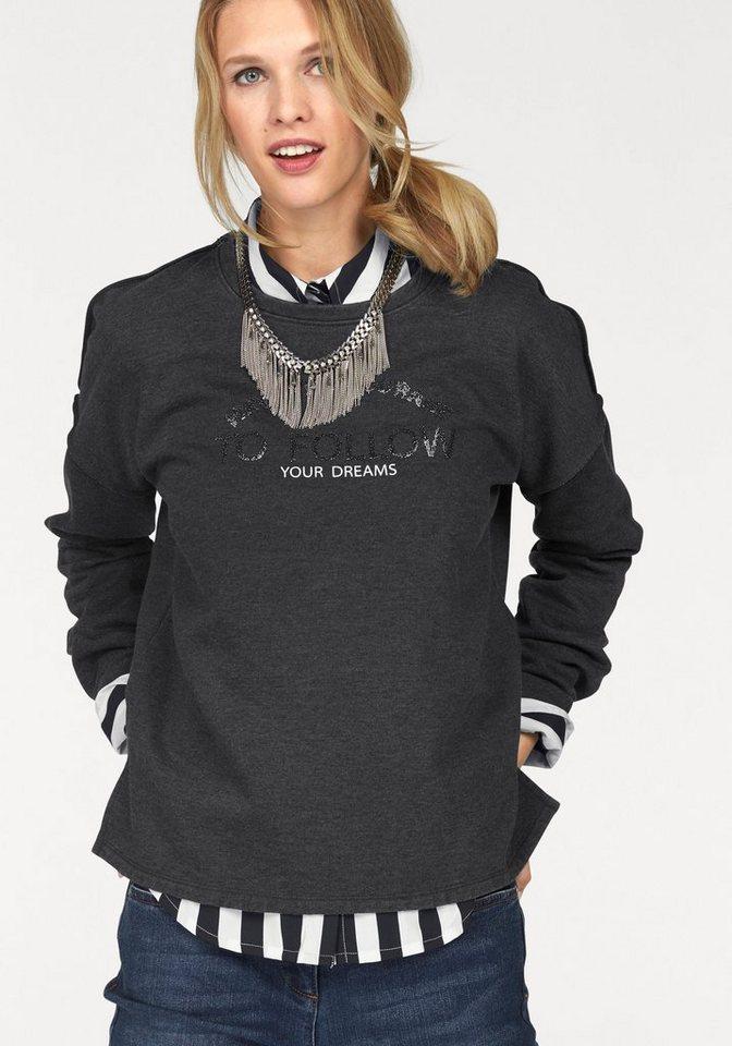 Tamaris Sweatshirt mit Steinchenverzierung in anthrazit