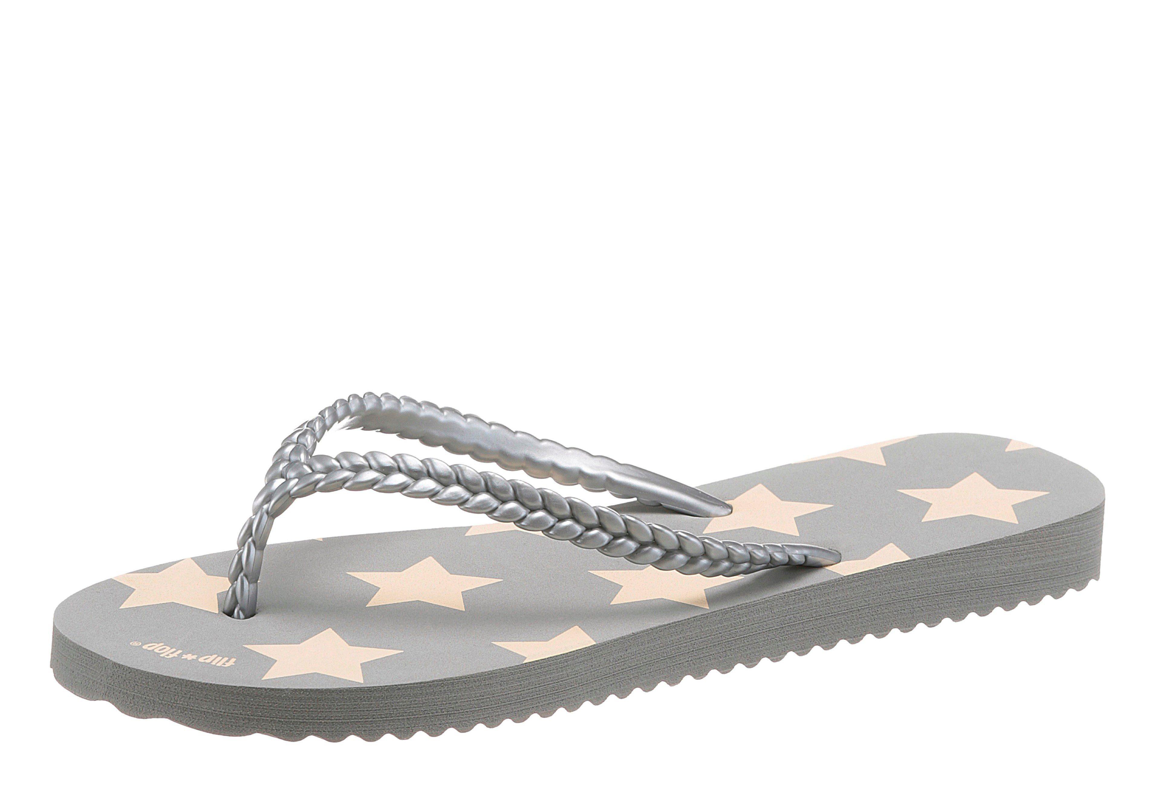 Flip Flop Zehentrenner, mit gemusterter Decksohle  grau