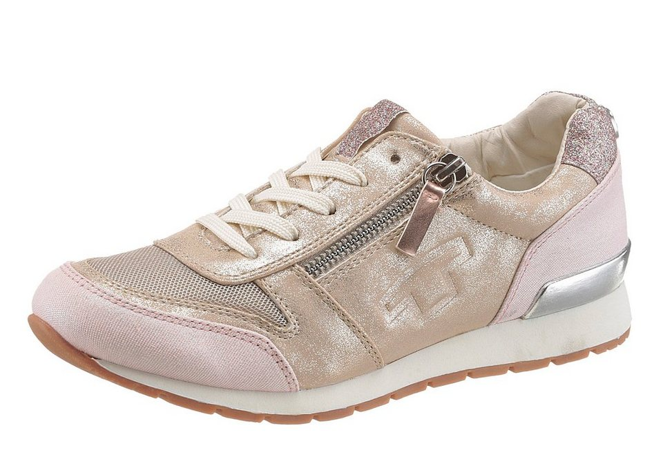 Tom Tailor Sneaker in tollem Materialmix in roségoldfarben