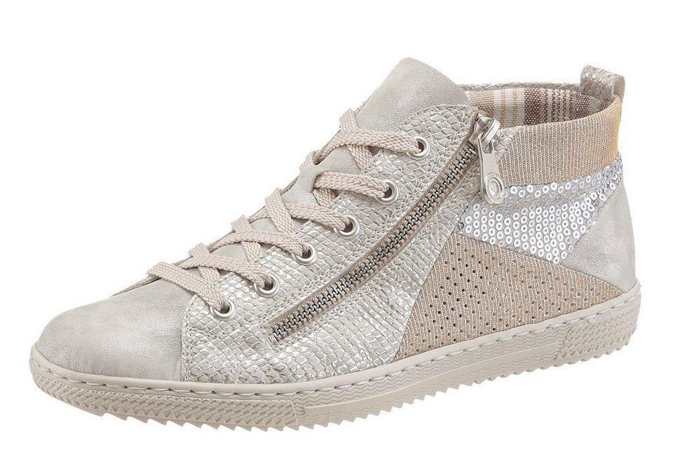 Rieker Sneaker mit Paillettenverzierung in grau-silberfarben-goldfarben
