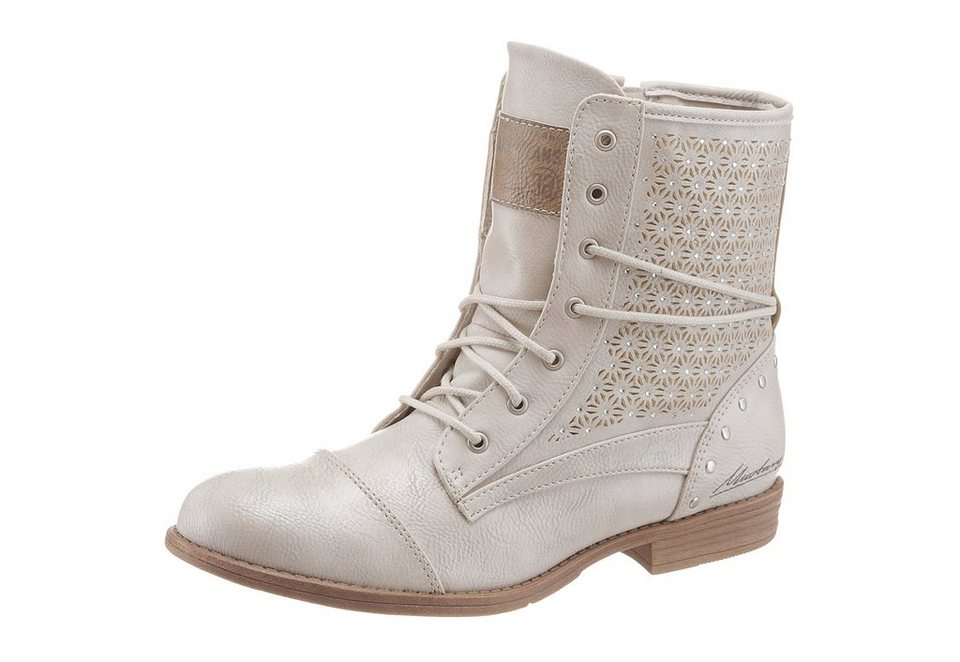 Mustang Shoes Sommerboots im Boho-Look in offwhite