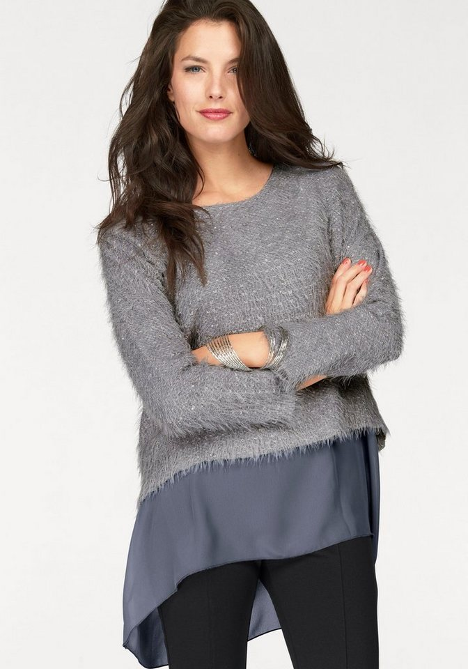 Vivance 2-in-1-Pullover mit Paillettenverzierung in grau