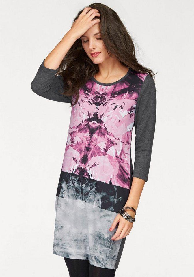 Vivance Jerseykleid mit 3/4-langen Ärmeln in grau-rosé-weiß