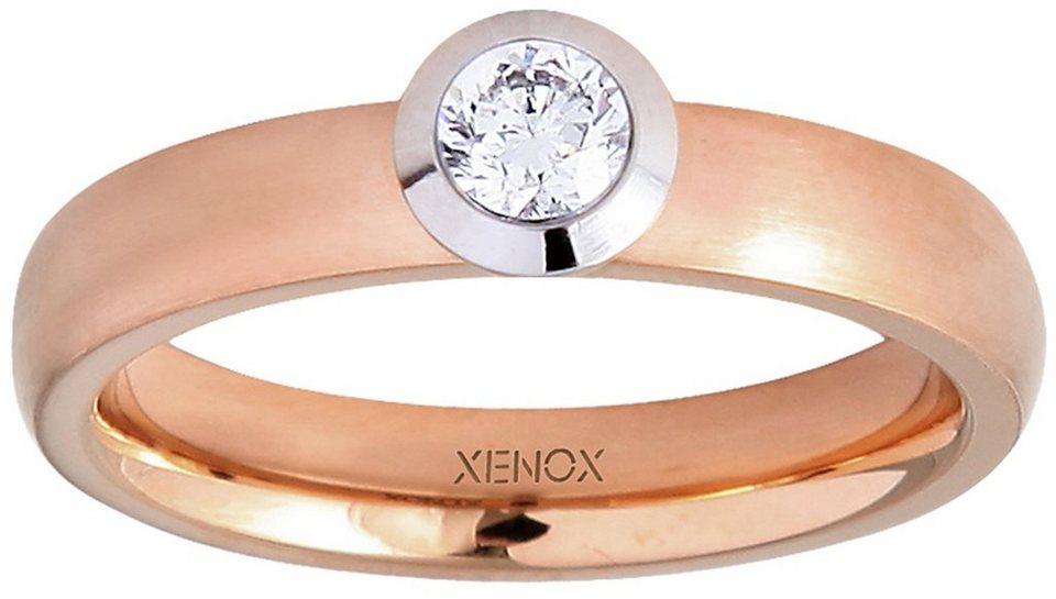 XENOX Fingerring »X2352R« mit Zirkonia in silberfarben-roségoldfarben