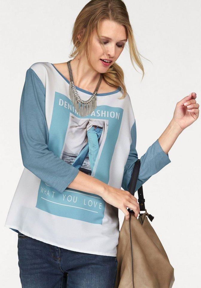 Tamaris 3/4-Arm-Shirt mit Frontdruck in hellblau-wollweiß