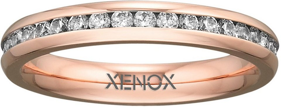 XENOX Fingerring »X2302« mit Zirkonia in roségoldfarben