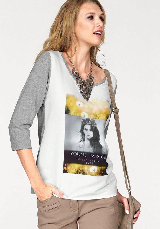 Tamaris 3/4-Arm-Shirt mit Frontdruck in grau-meliert-wollweiß