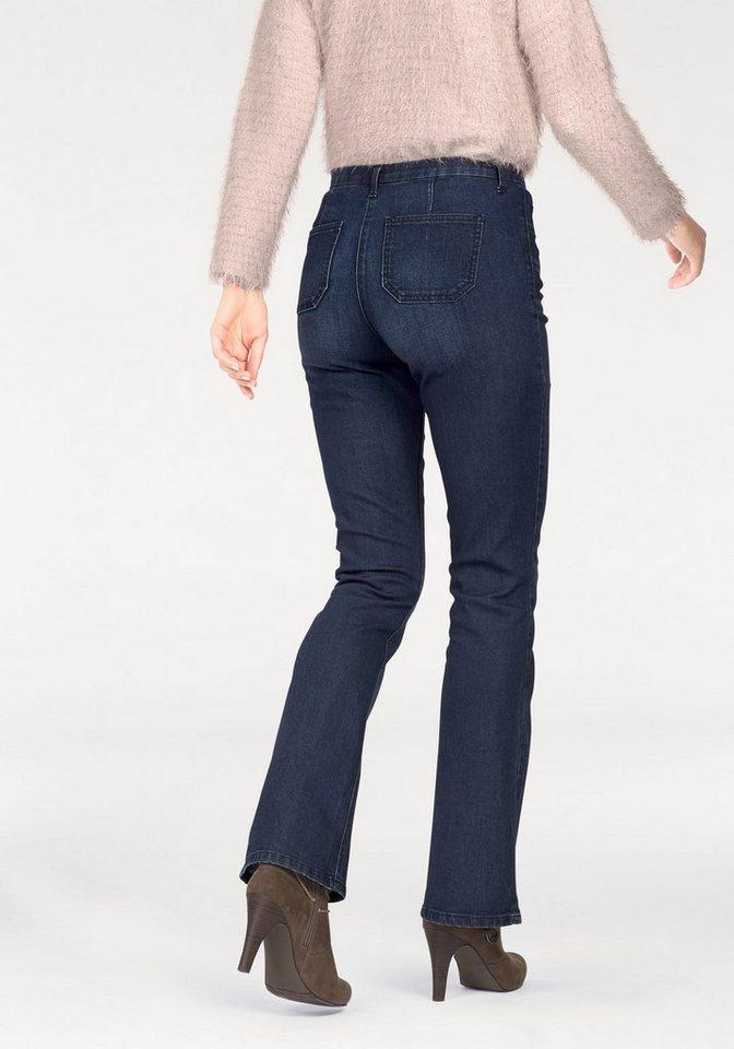 Vivance Bootcut-Jeans mit angedeuteten Sitzfalten in blue