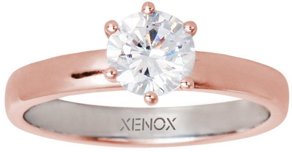 XENOX Silberring »Silver Circle, XS7356R« mit Zirkonia in Silber 925-roségoldfarben