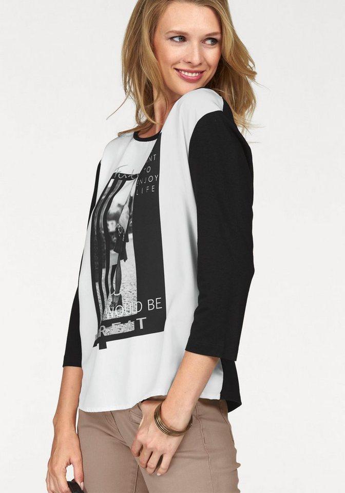 Tamaris 3/4-Arm-Shirt mit Frontdruck in schwarz-wollweiß