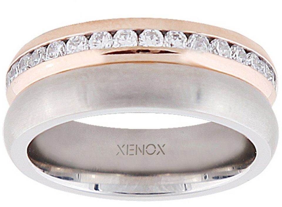 XENOX Fingerring »X2180« mit Zirkonia in silberfarben-roségoldfarben
