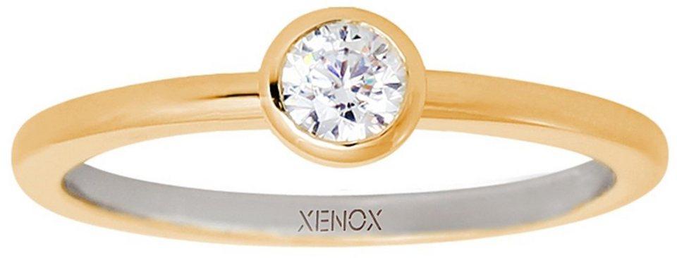 XENOX Silberring »Silver Circle, XS7279G« mit Zirkonia in Silber 925-goldfarben