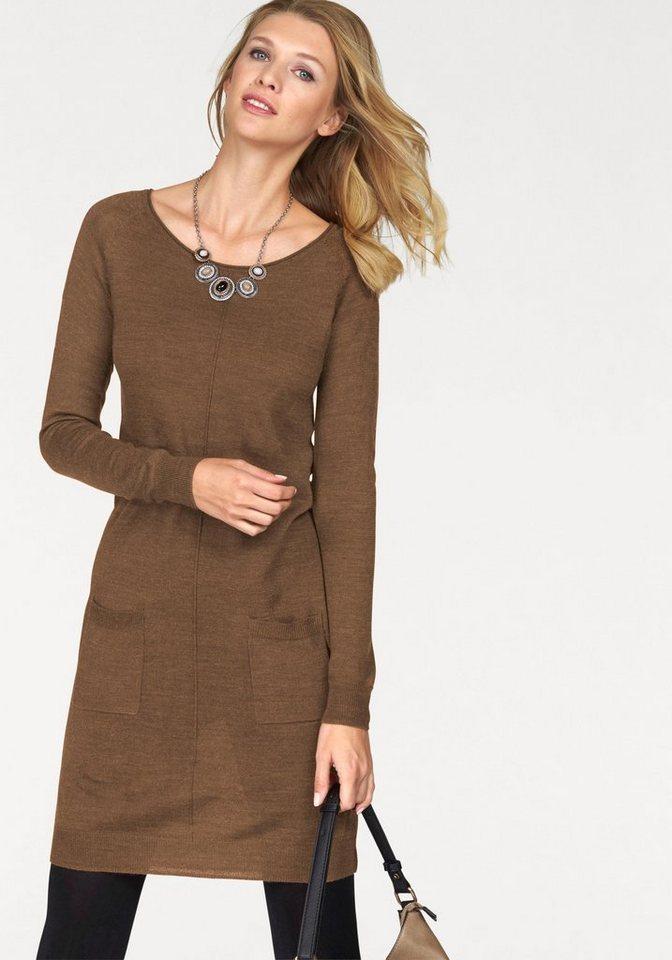 Tamaris Strickkleid mit aufgesetzten Taschen in camelfarben
