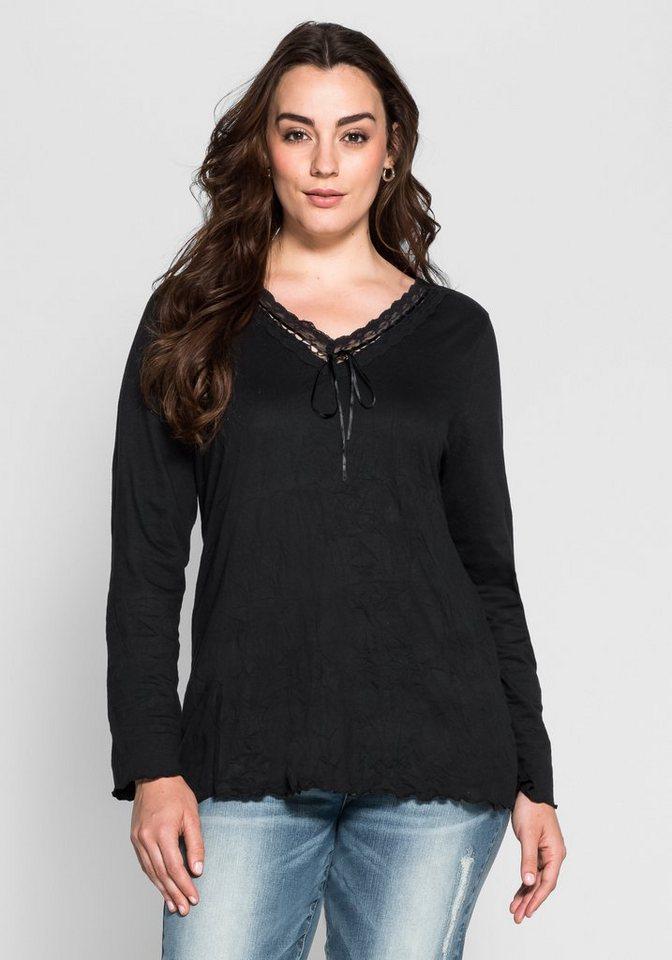 Joe Browns Crincle-Shirt in Melange-Optik in schwarz