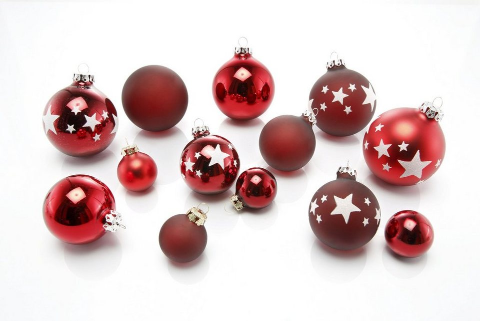 Thüringer Glasdesign TGS-Weihnachtskugeln, Made in Germany, »Advent« (30tlg.) in rot/weiß